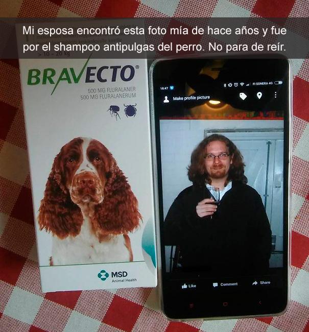 foto de un perro y foto de un hombre