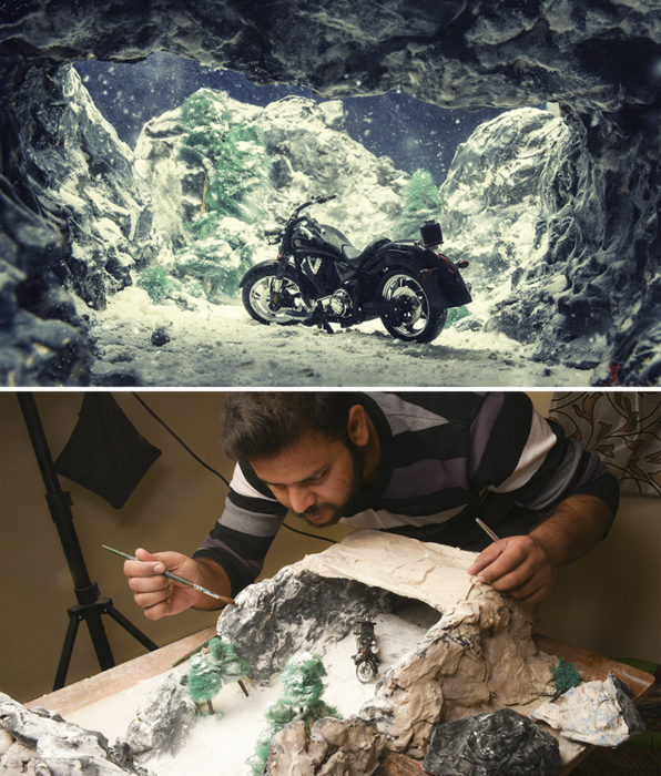 Montaje, moto en medio de montañas nevadas miniatura