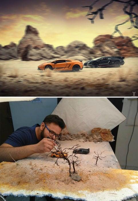 Montaje, carrera dos autos miniatura