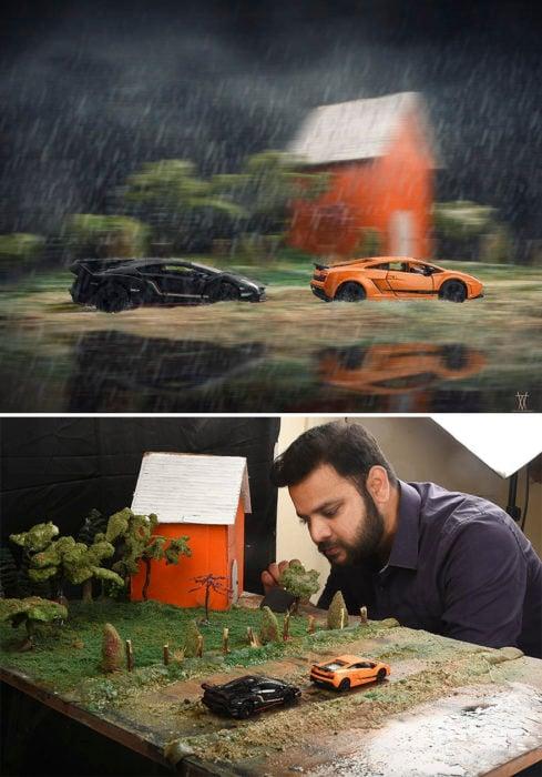 Montaje dos autos corriendo frente a una granja miniatura