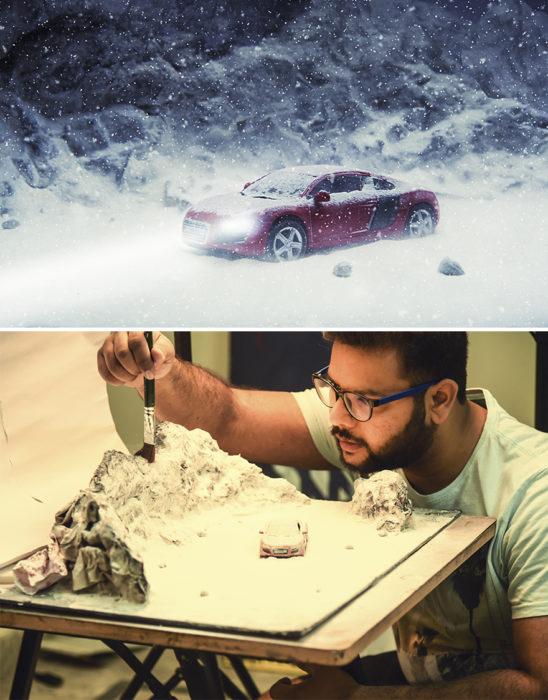 Montaje carro parado en medio de la nieve miniatura