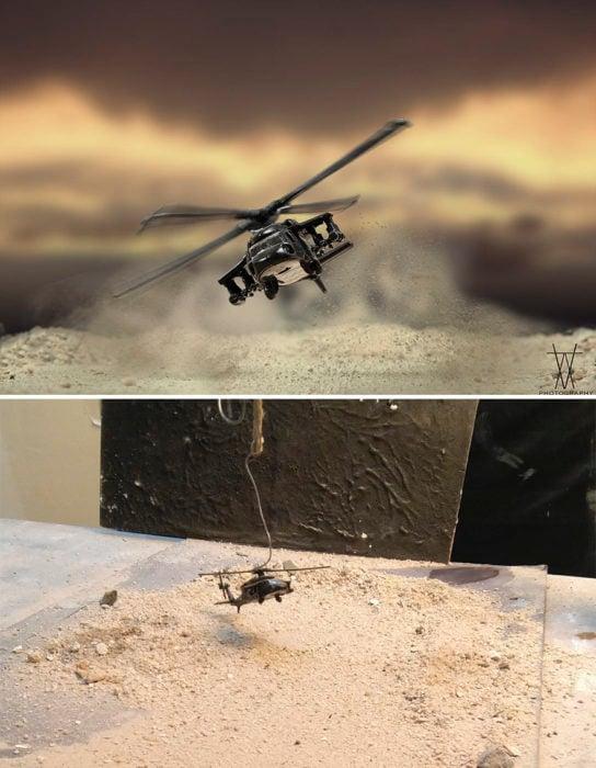 Montaje helicóptero volando miniatura