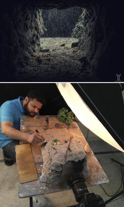 Montaje cueva en la lluvia miniatura