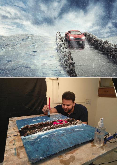 Montaje carro atravesando puente en medio de una tormenta miniatura