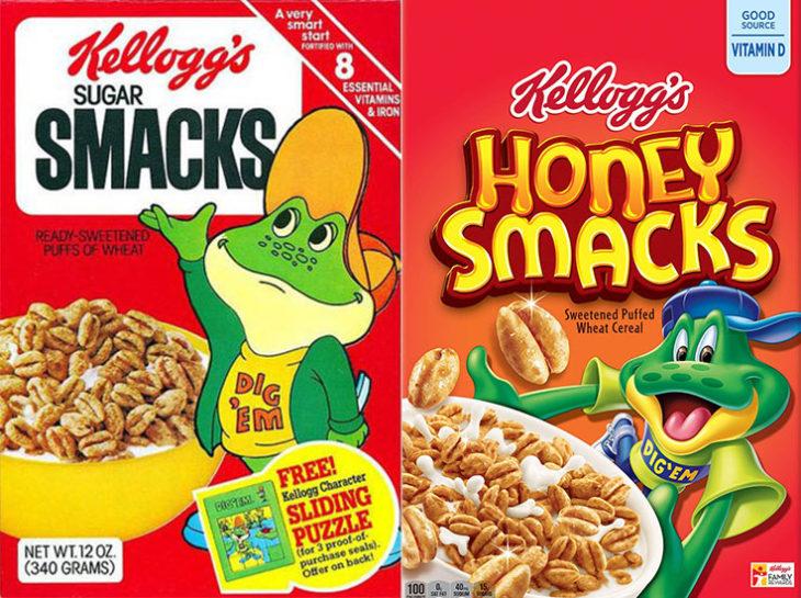 ranita honey smacks empaque vintage personajes de la caja antes y después