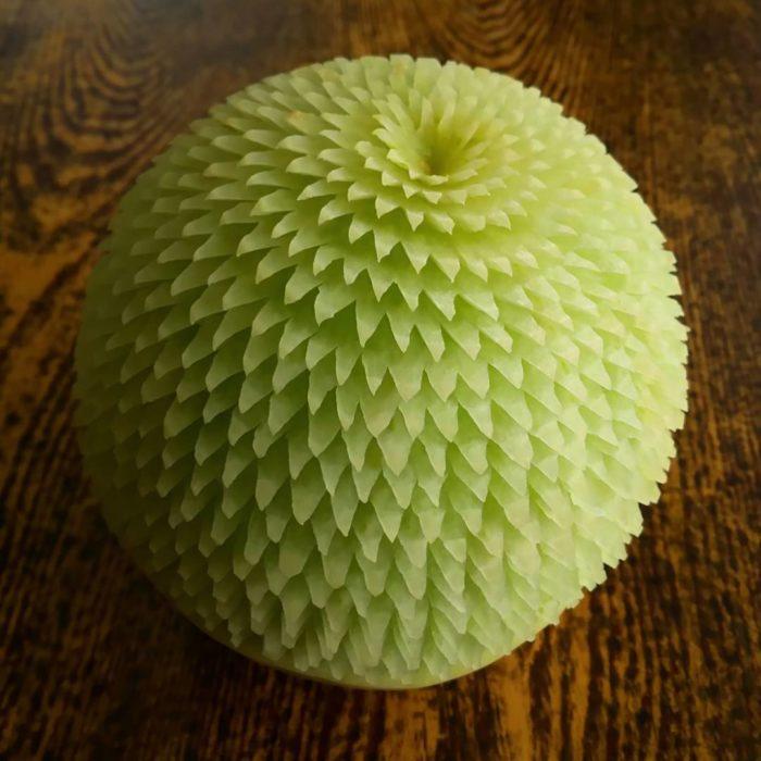 melón tallado cuidadosamente