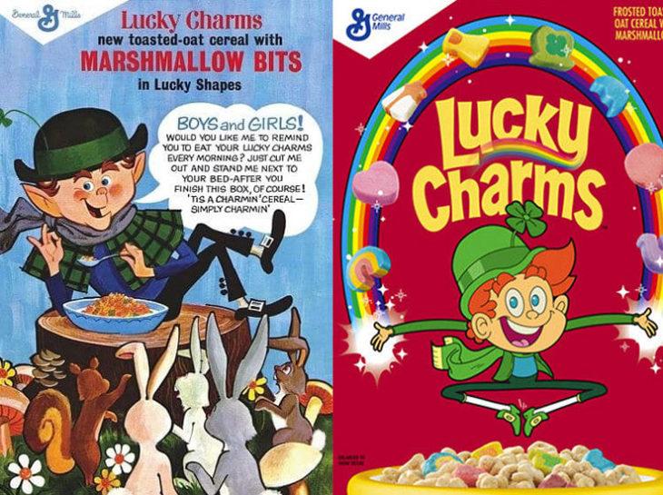 lucky charms arcoiris duende empaque vintage personajes de la caja antes y después