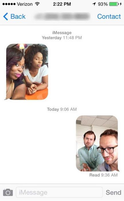 Mensajes equivocados - dos selfies de desconocidos