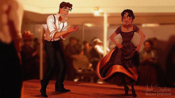 tiana y príncipe escena titanic bailando