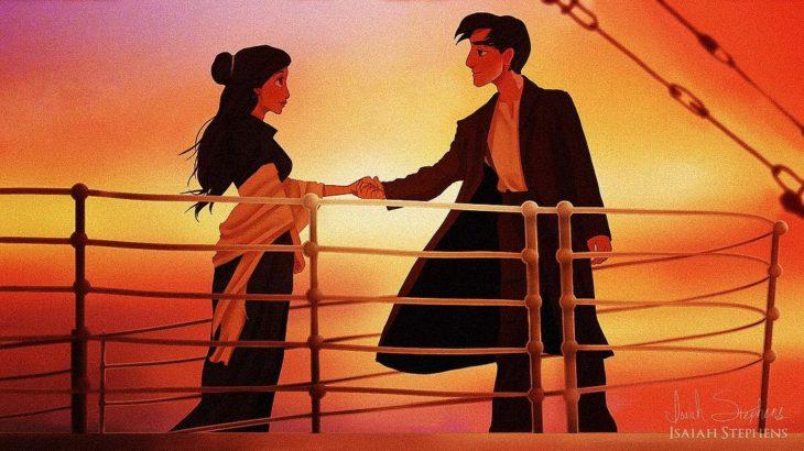 aladdín y jazmín escena titanic tomados de la mano