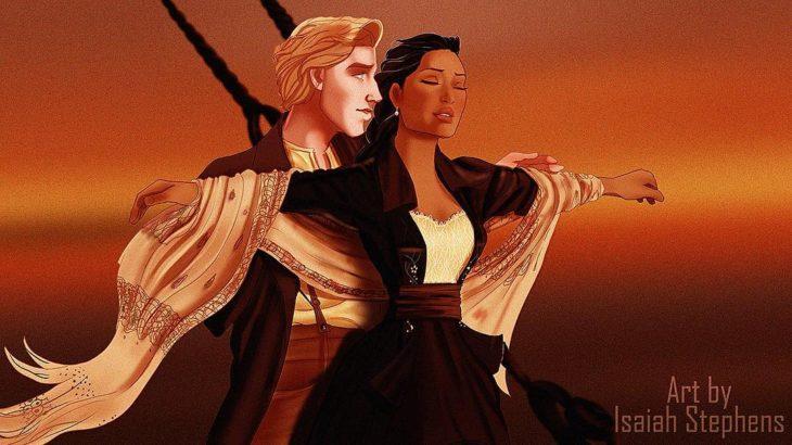 pocahontas y john smith escena titanic ella brazos extendidos y él atrás de ell a