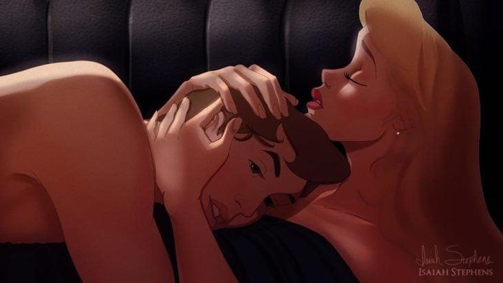 bella durmiente y príncipe, escena titanic en el carruaje
