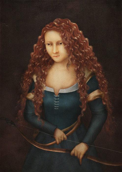 retrato renacentista princesa que se pelea con mama