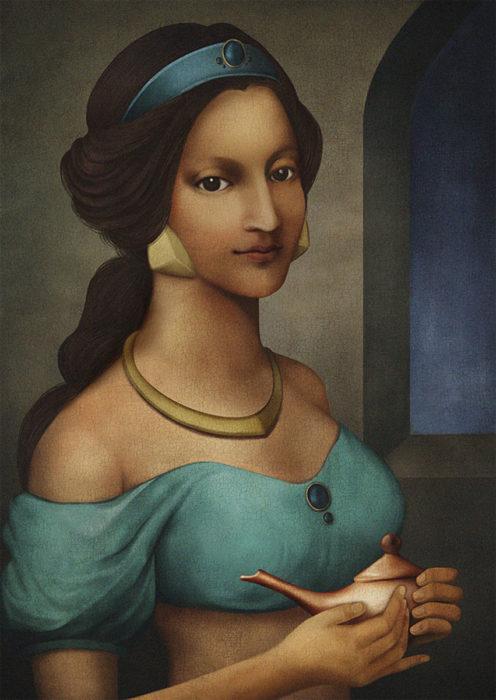 retrato renacentista princesa que tiene un tigre