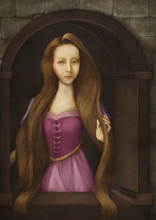 retrato renacentista princesa con cabello largo