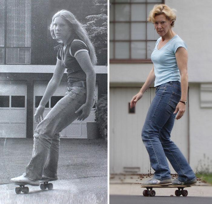 mujer en patineta antes y ahora