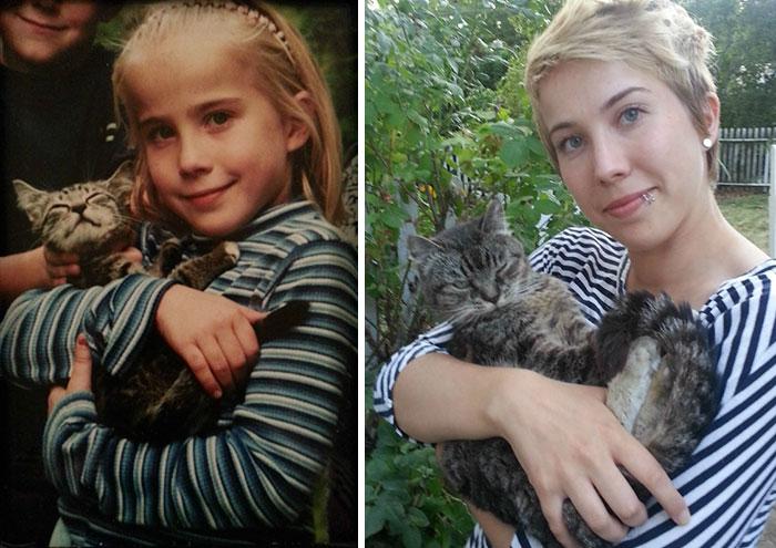 niña con su gato y muchos años después