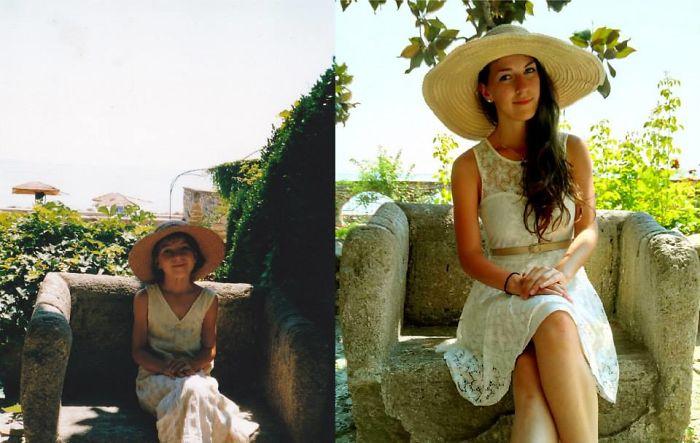 niña con sombrero foto antes y ahora