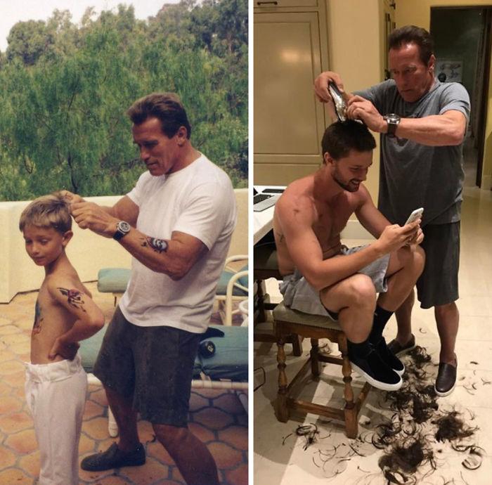 arnold con su hijo recrea foto