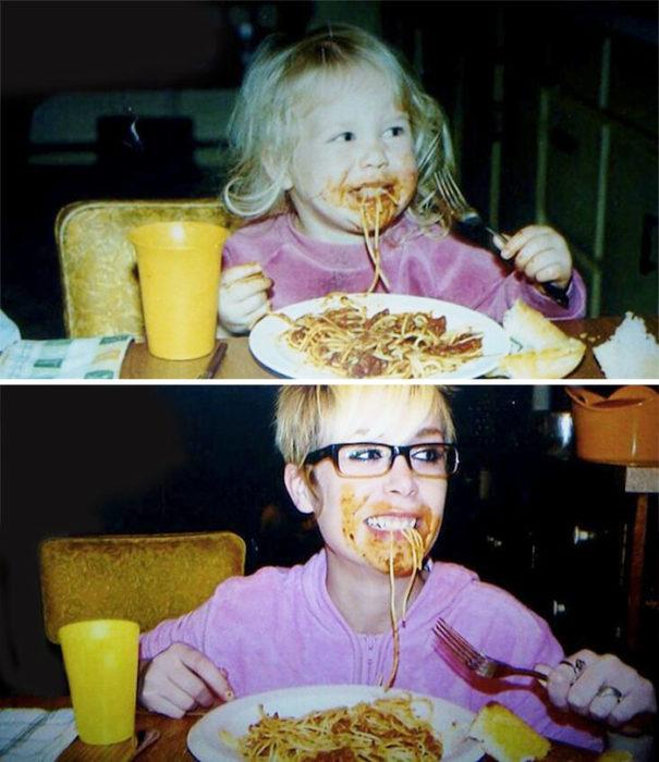 niña comiendo espaguetti muchos años después