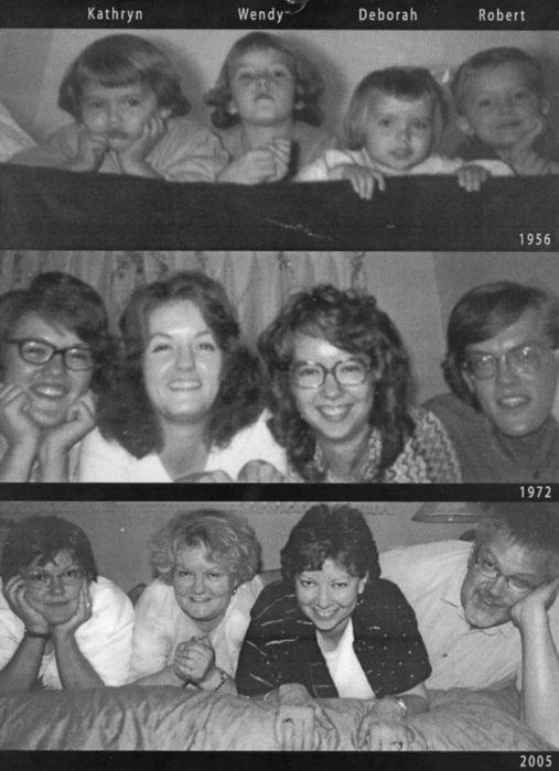 familia recrea foto muchos años después