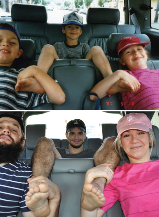 hermanos de viaje recrean foto