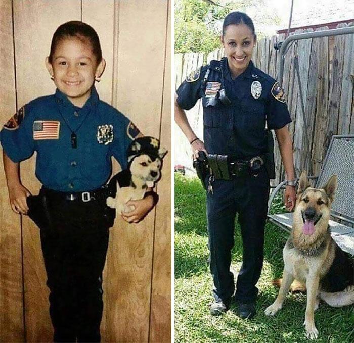 niña traje de policía y mujer policía
