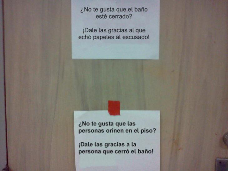 Notas sarcásticas trabajo - ¿no te gusta el baño cerrado?