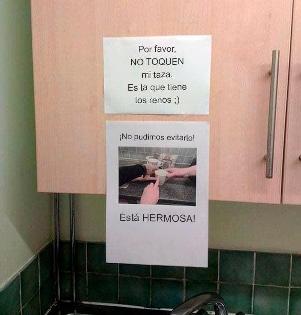 Notas sarcásticas trabajo - no toquen mi taza