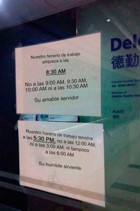 Notas sarcásticas trabajo - horario de trabajo