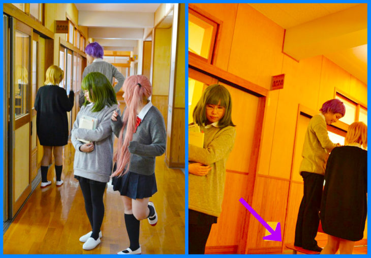 cosplayers en un pasillo escolar expectativa vs realidad