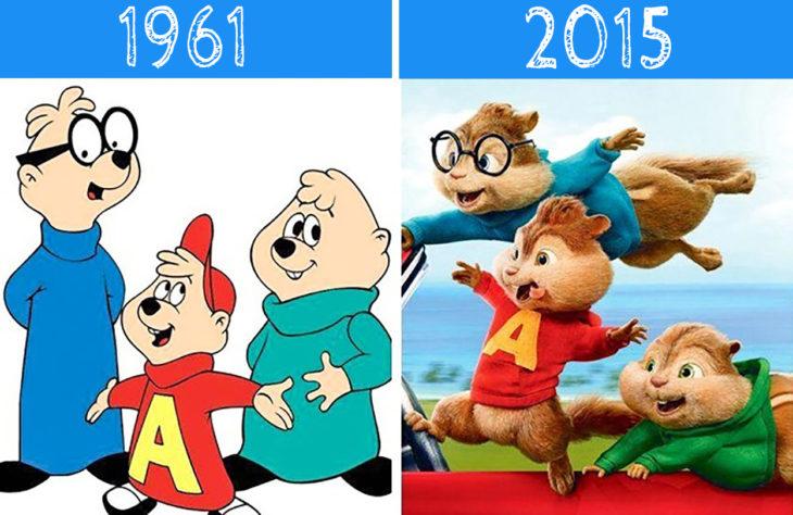 alvin y las ardillas antes y después