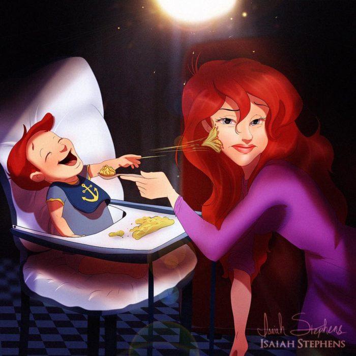 la sirenita dnadole de comer a un bebé