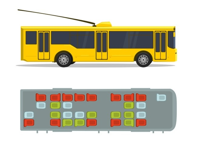 trolebús amarillo asientos seguros