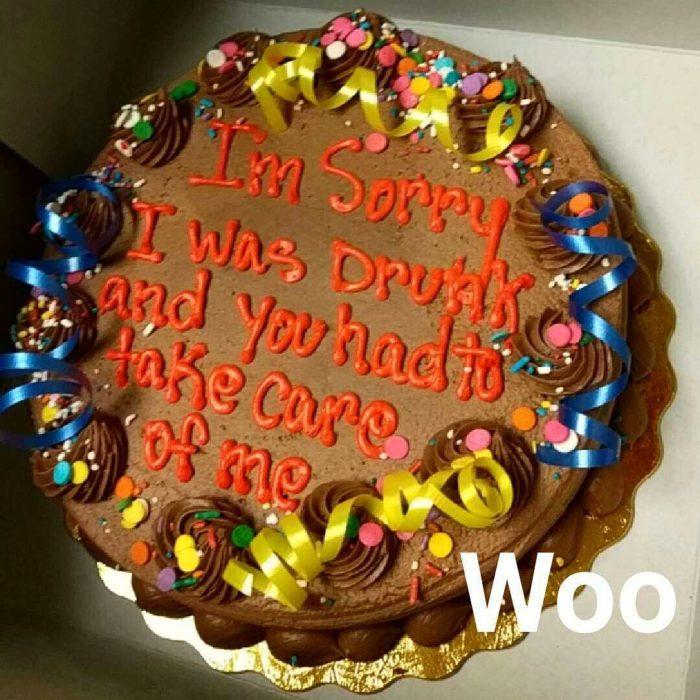 pastel de disculpas por estar borracho