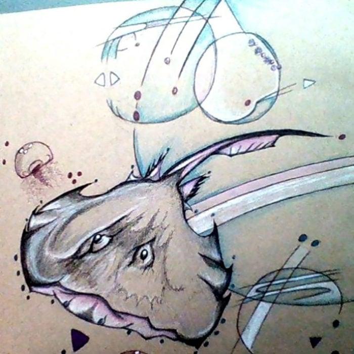 dibujo extraño de burbujas