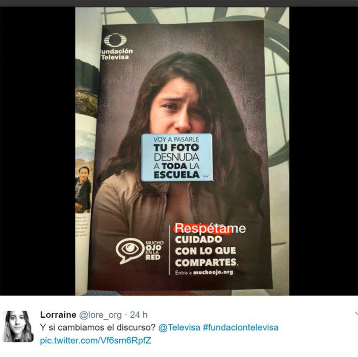chica en twitter modificó el cartel de televisa sobre sexting