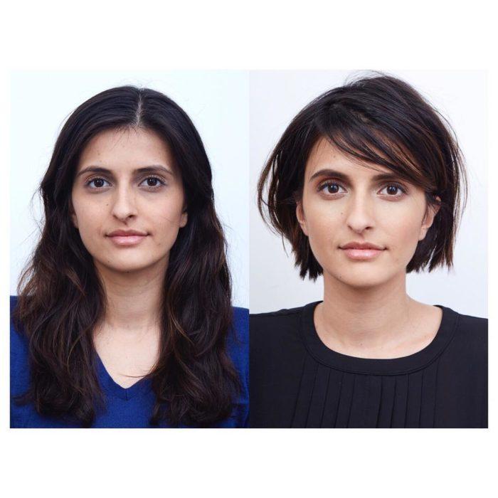 liso cambio de look chica cabello corto antes y después