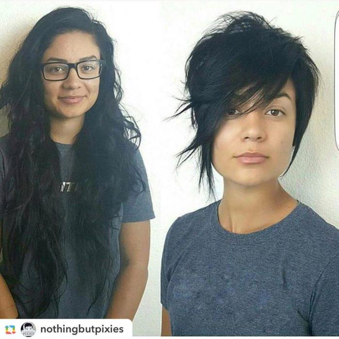 bob corte cambio de look chica cabello corto antes y después