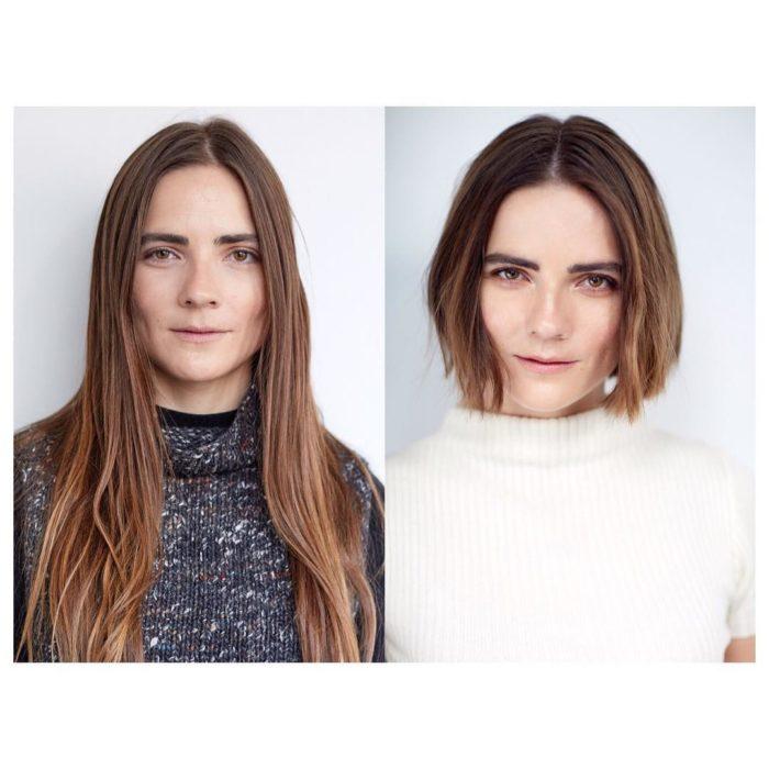 pelirroja cambio de look chica cabello corto antes y después