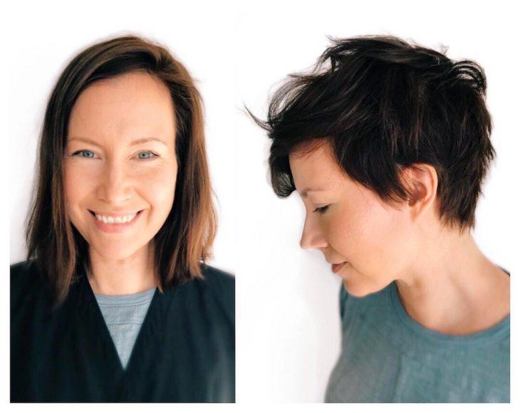 señora cambio de look chica cabello corto antes y después