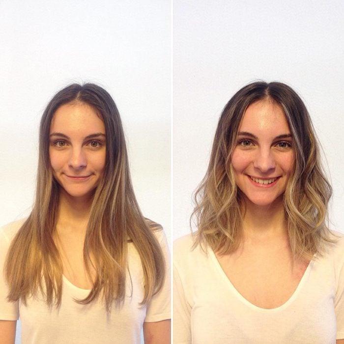 rubia cambio de look chica cabello corto antes y después