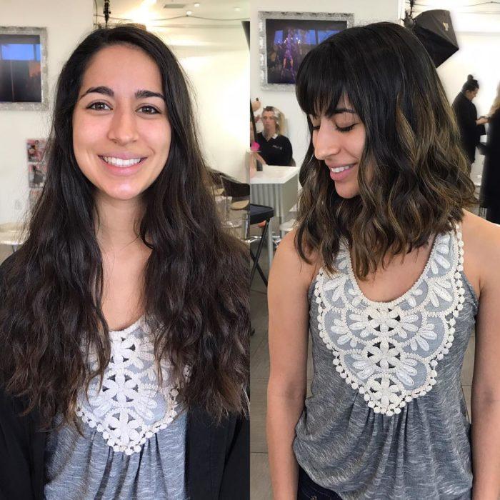 casraña cambio de look chica cabello corto antes y después