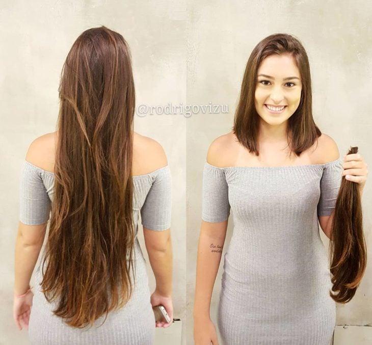 largo cambio de look chica cabello corto antes y después