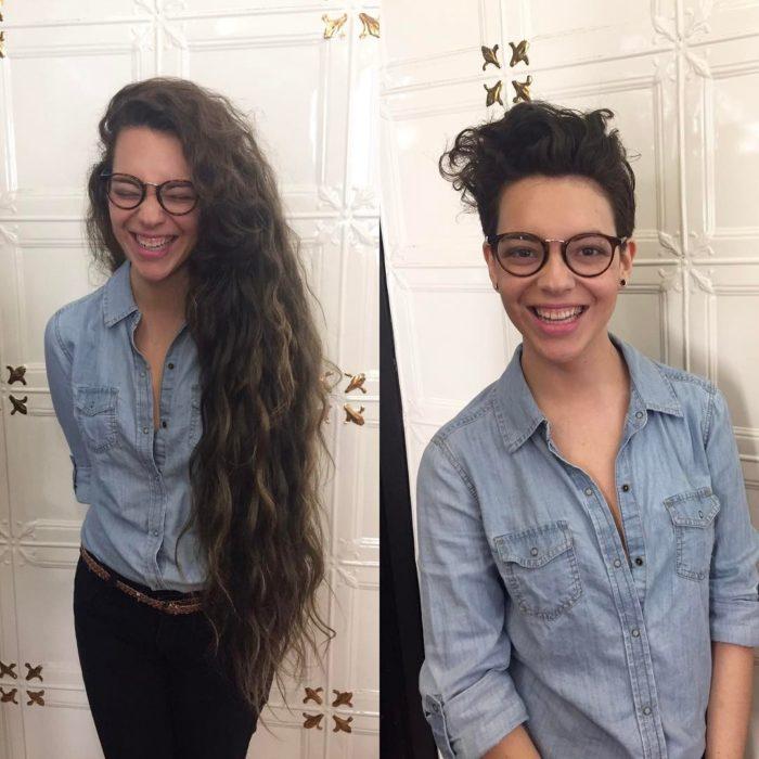 camisa mezclilla cambio de look chica cabello corto antes y después