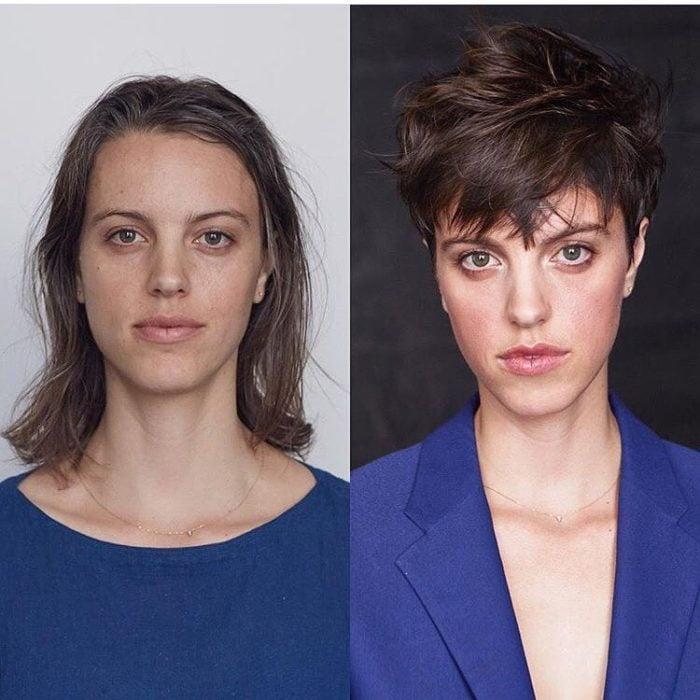 cabello rebelde cambio de look chica cabello corto antes y después
