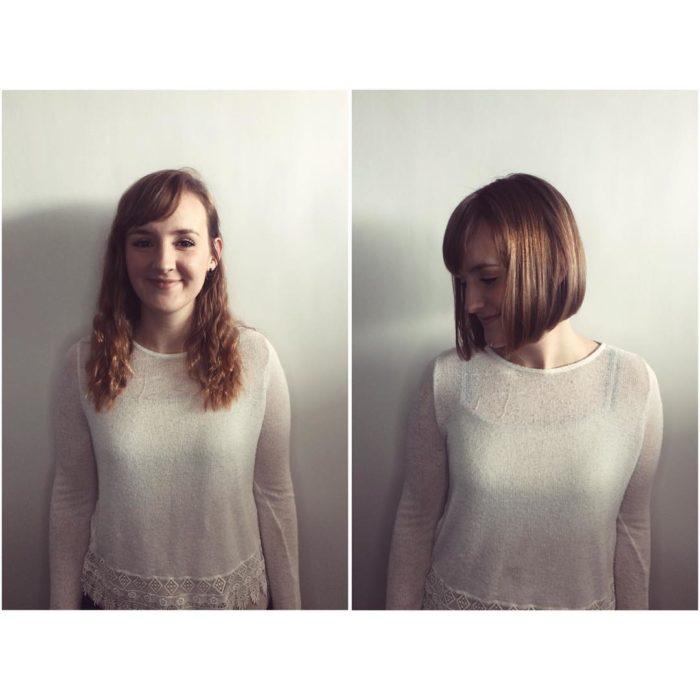 tierna cambio de look chica cabello corto antes y después