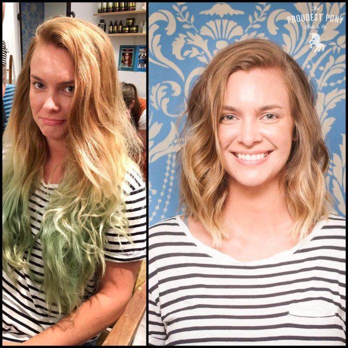 rubia mechas cambio de look chica cabello corto antes y después