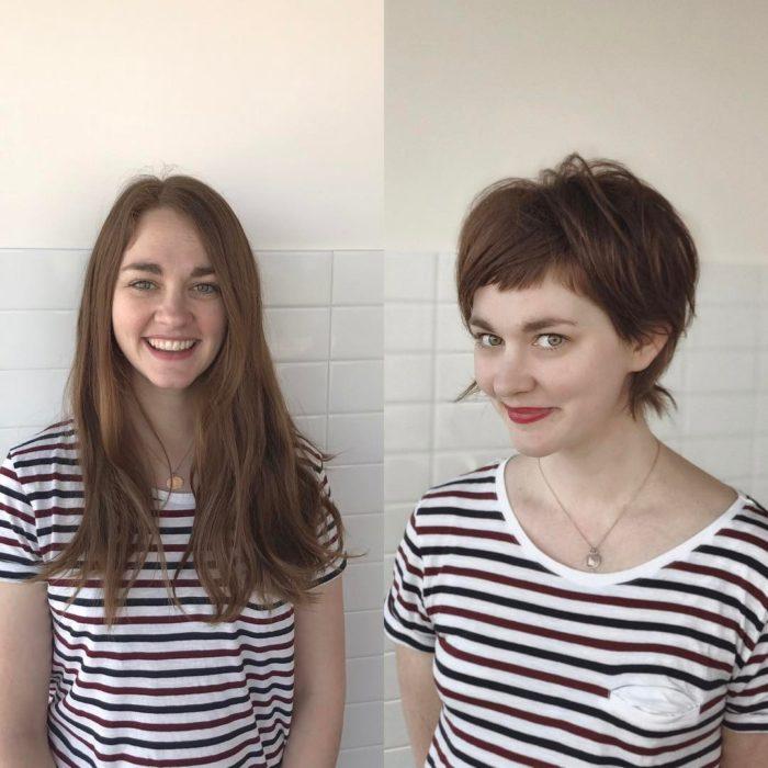 blusa rayada cambio de look chica cabello corto antes y después