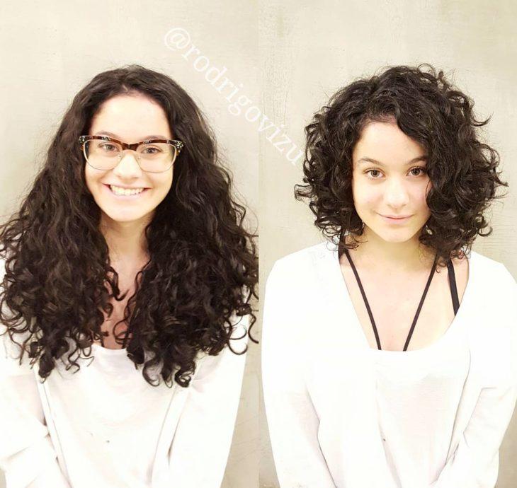 rizado cambio de look chica cabello corto antes y después